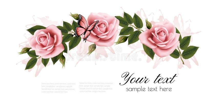 Bloemkader met schoonheids roze rozen royalty-vrije illustratie