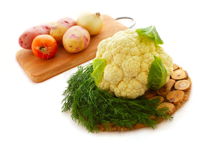 Bloemkool en groenten stock foto's