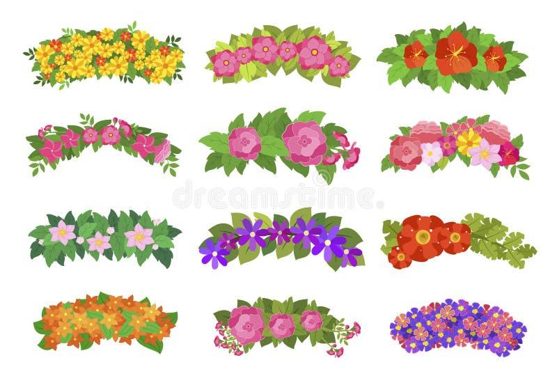 Bloemkronen voor hoofd, romantisch uitstekend element vector illustratie