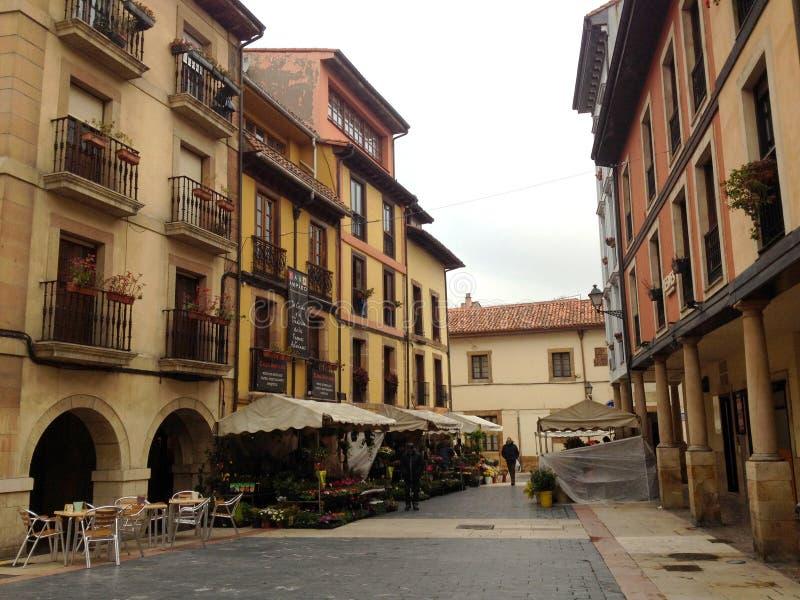 Bloemmarkt op de straat van de oude stad van Oviedo Asturias, Spanje stock fotografie