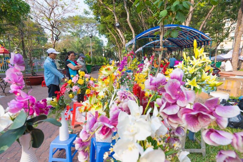 Bloemmarkt, Saigon stock foto's