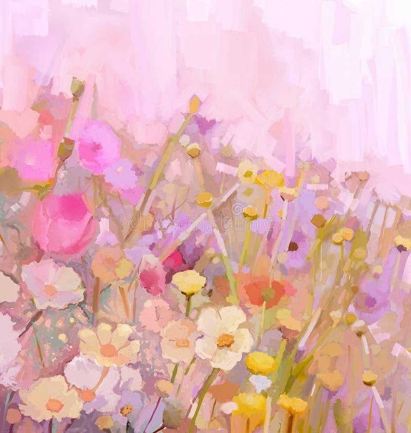 Bloemolieverfschilderij - wijnoogst stock illustratie