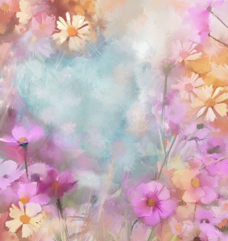 Bloemolieverfschilderij, wijnoogst, grunge achtergrond vector illustratie