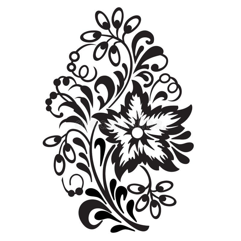 Bloempatroon op witte achtergrond wordt geïsoleerd die Sier element vector illustratie
