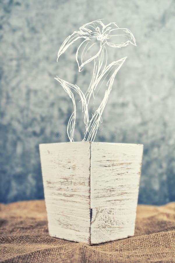 Download Bloempot Met Geschetste Bloem Stock Illustratie - Illustratie bestaande uit tuinbouw, bloemen: 39103233