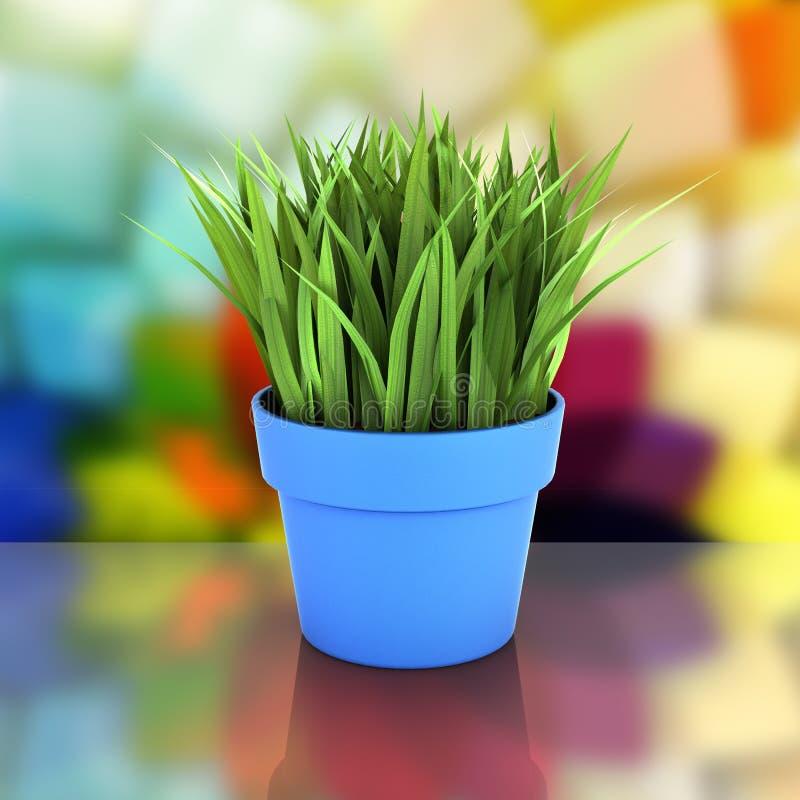 Bloempot met groen gras op samenvatting bakground met 3d bezinning vector illustratie