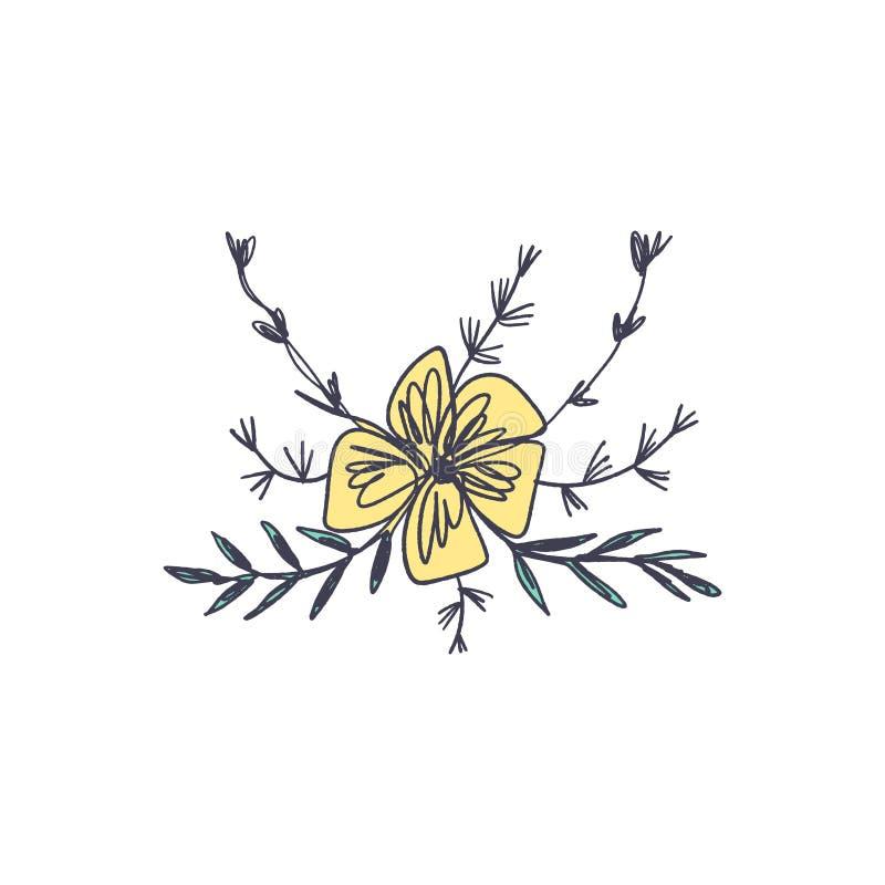 Bloemschets Enig beeld op witte achtergrond, malplaatje Vector illustratie royalty-vrije illustratie