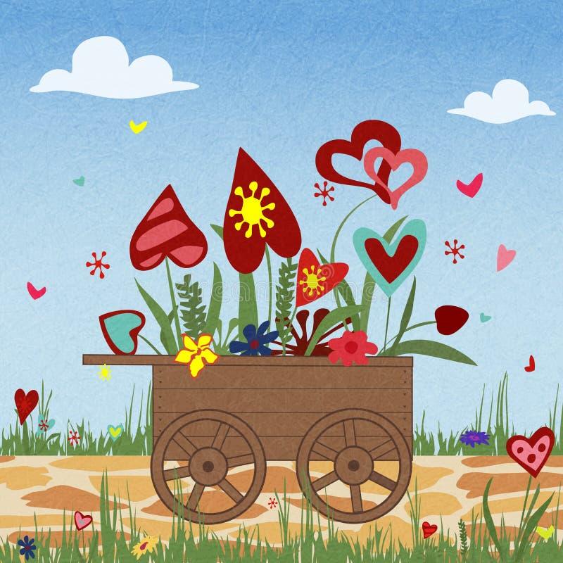 Bloemstuk van kleurrijke harten in een stootkar, de dag van Valentine, gelukkige verjaardag stock illustratie