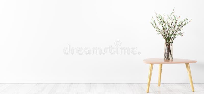 Bloemvaas over het witte muur binnenlandse 3d teruggeven als achtergrond vector illustratie