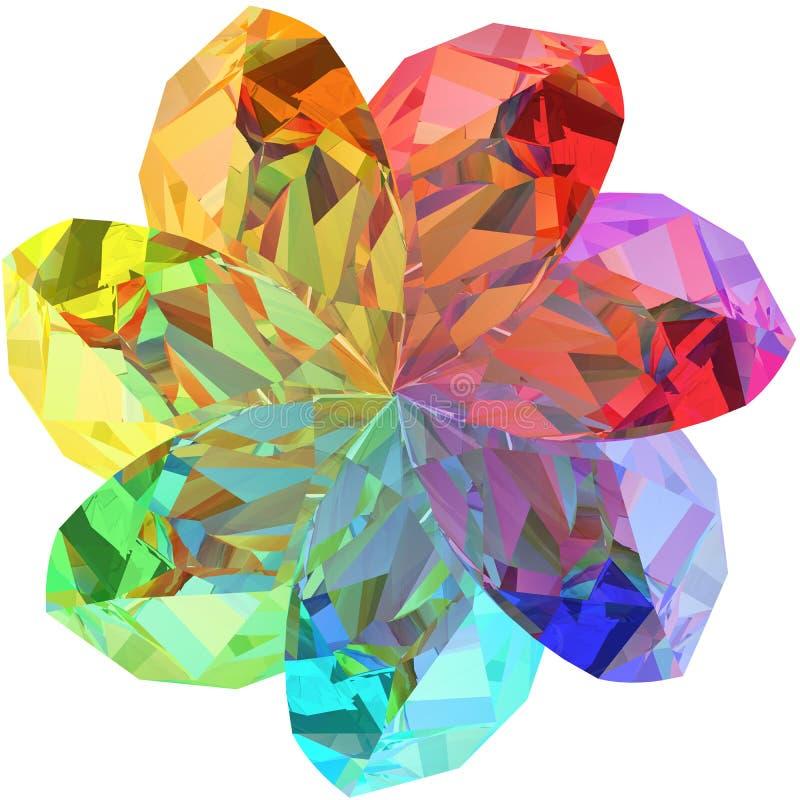 Bloemvorm die uit kleurrijke halfedelstenen wordt samengesteld stock illustratie