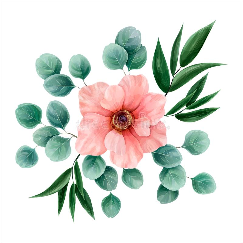 Bloemwaterverf, vectorillustratie Botanisch ontwerp Doorboor a vector illustratie