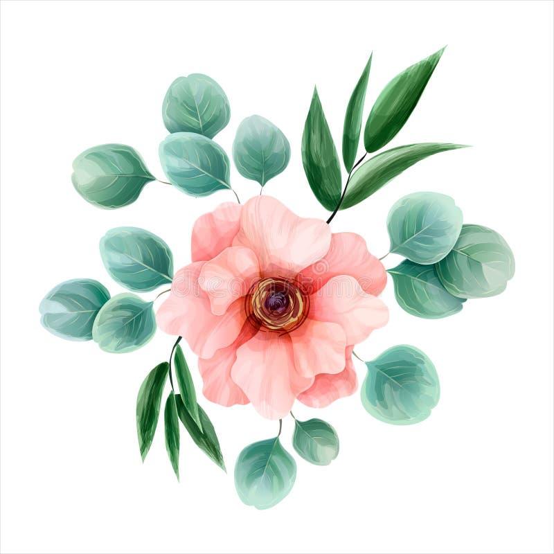 Bloemwaterverf, vectorillustratie Botanisch ontwerp Doorboor a royalty-vrije illustratie