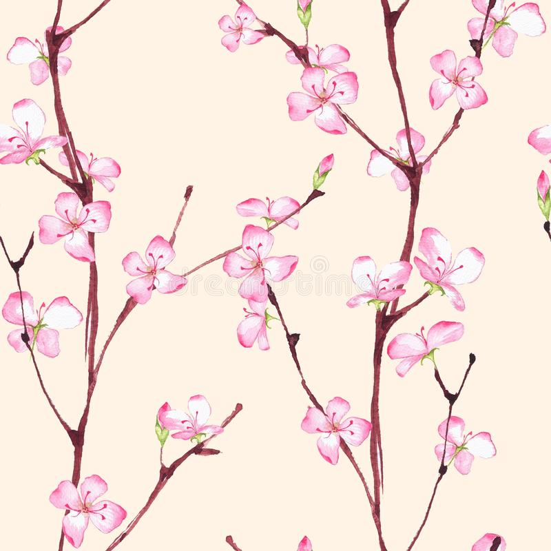 Bloesem Naadloos bloemenpatroon 3 stock illustratie