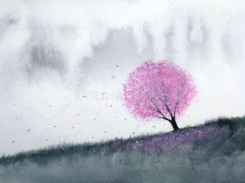 Bloesem van de de bomenkers van het waterverflandschap de roze of sakurablad die aan de wind in bergheuvel vallen met weidegebied vector illustratie