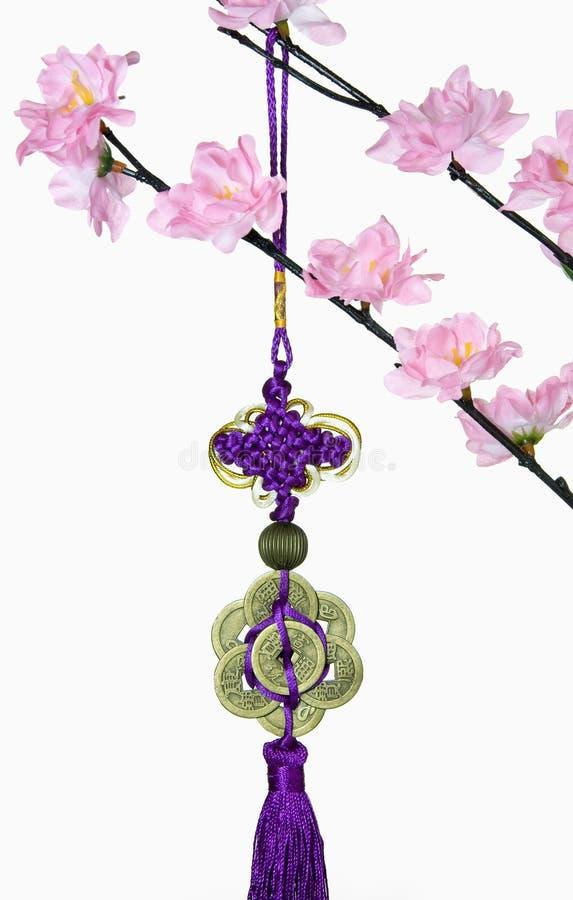 Bloesemboom en Chinese Nieuwjaar Hangende Decoratie stock afbeeldingen