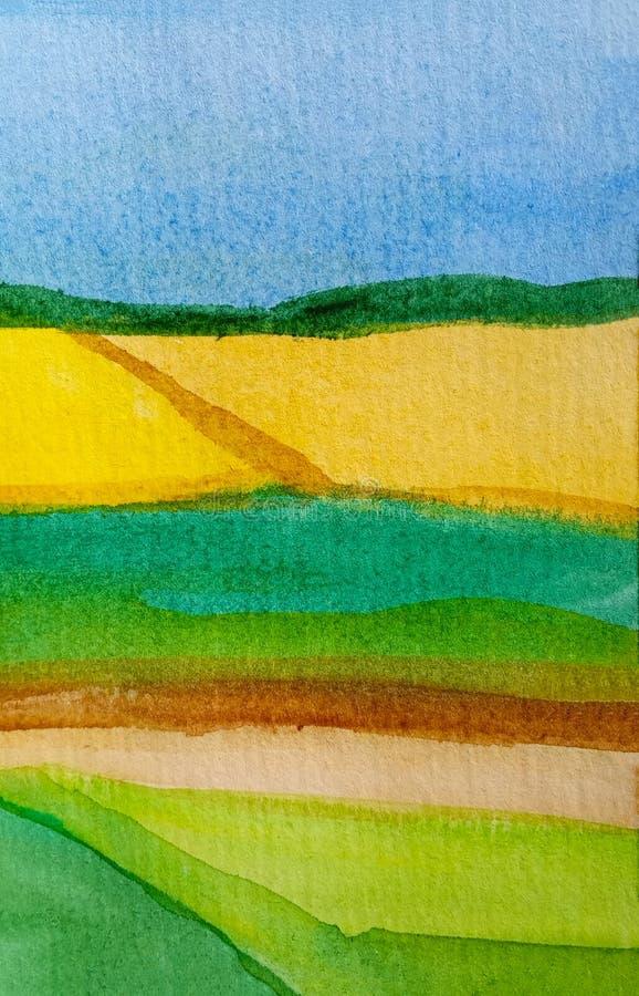 Bloesemgebieden en weiden van zonnebloem, tarwe of canola met duidelijke hemel Abstracte waterverfachtergrond van gele stroken va stock illustratie