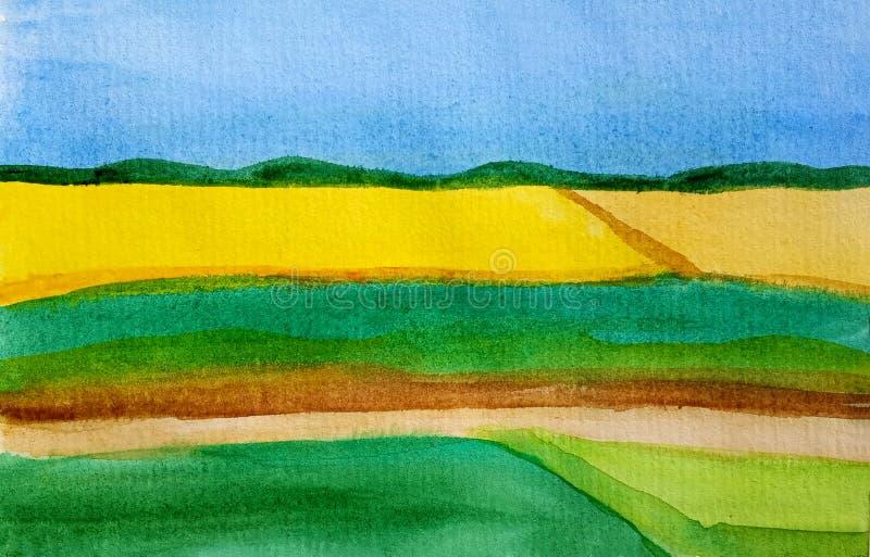Bloesemgebieden en weiden van zonnebloem, tarwe of canola met zonnige hemel Abstracte waterverfachtergrond van gele stroken van b royalty-vrije illustratie