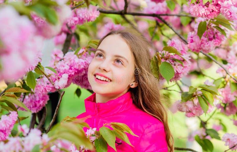 bloesemgeur, allergie klein meisje in de bloei van de de lentebloem Skincare spa Natuurlijke Schoonheidsmiddelen voor Huid Gelukk stock foto