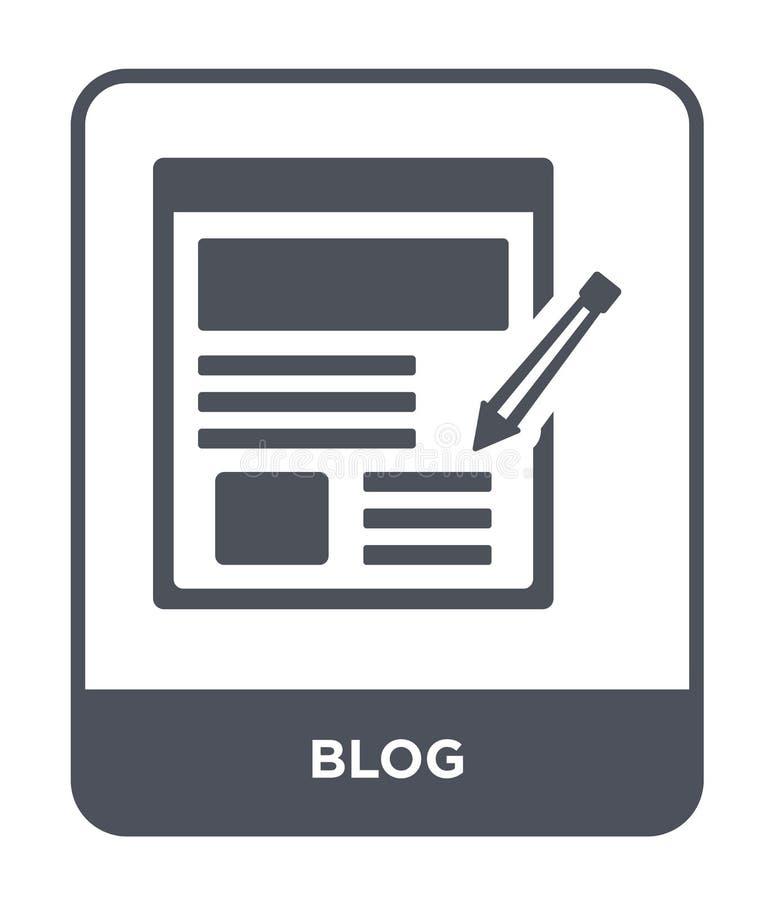 blog εικονίδιο στο καθιερώνον τη μόδα ύφος σχεδίου Εικονίδιο Blog που απομονώνεται στο άσπρο υπόβαθρο blog διανυσματικό απλό και  απεικόνιση αποθεμάτων