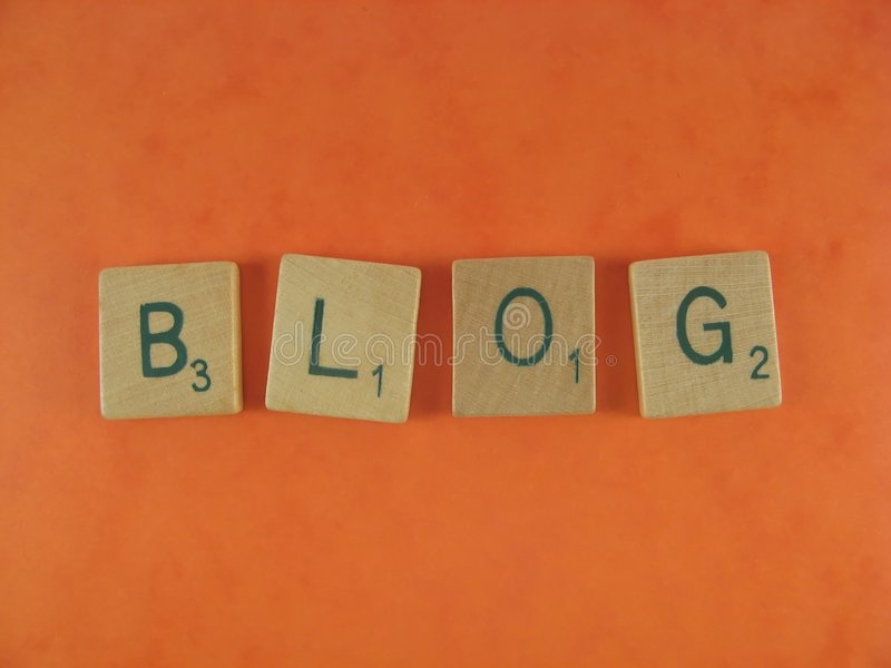 Blog. Letters of BLOG oaver an orange backgrouind royalty free stock images