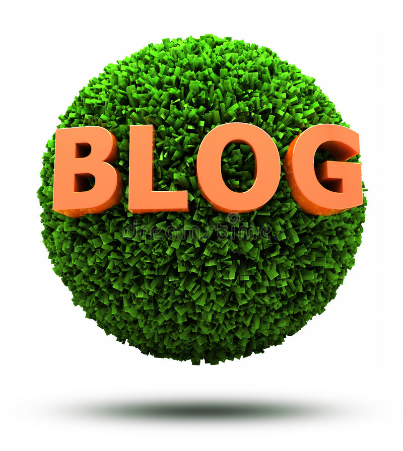 blog 3D sur la bille herbeuse illustration stock