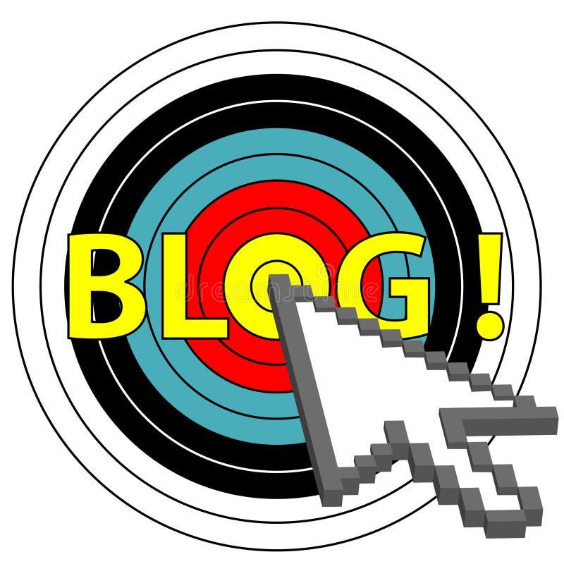 Blog auf Ziel-Klicken mit Pfeil-Cursor-Ikone lizenzfreie abbildung