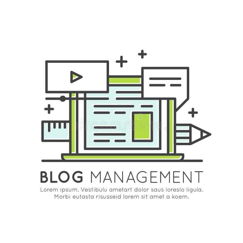 Blog-Beiträges-Schaffungs-Prozess Musik-, Video-, Bild- und Datennetz, das Konzept, Content Management teilt vektor abbildung