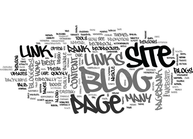 A Blog Is The Best Tool To Boost The Page Rank Of The Siteword Cloud stock illustration