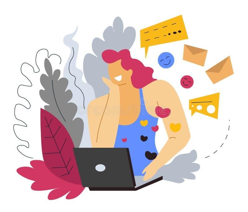 Blog, blogging Διαδικτύου και webcam ρέοντας καταγραφή, κορίτσι και lap-top ελεύθερη απεικόνιση δικαιώματος