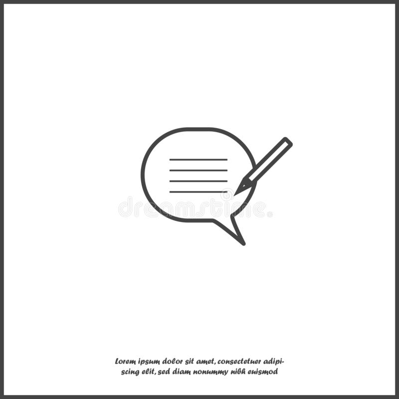 Blog, cloud of thoughts and pencil vector icon. Blogging symbol on white isolated background vector illustration