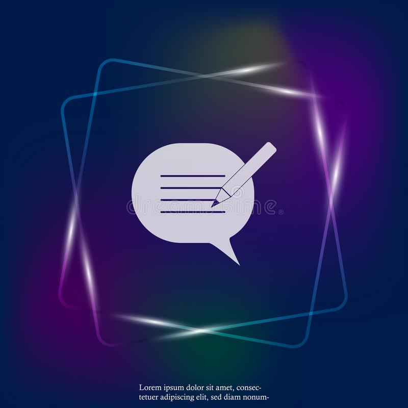 Blog, cloud of thoughts and pencil vector neon light icon. Blogging symbol. Layers grouped for easy editing illustration. For you stock illustration