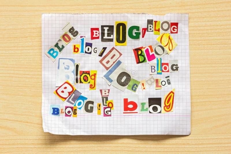 BLOG de mots de diverses lettres photo libre de droits