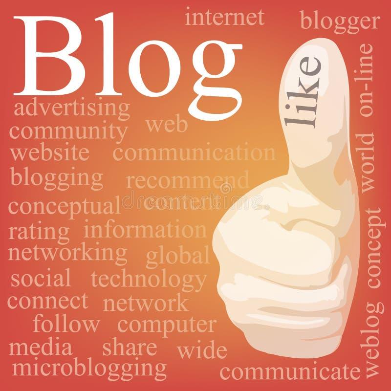 Blog. De wolk van de markering vector illustratie
