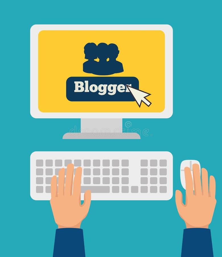Blog design, vector illustration. Blog design over blue background, vector illustration stock illustration