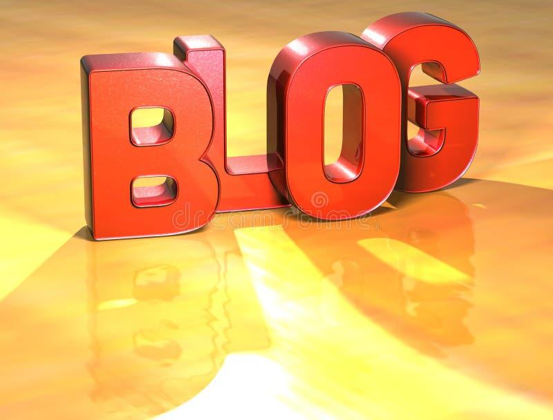 Blog di parola su fondo giallo illustrazione di stock