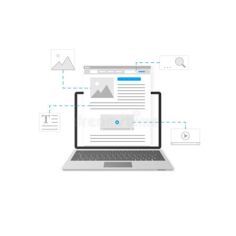 Blog Diseño Blogging y contento de la plantilla del márketing Concepto del desarrollo del sitio web Ilustración del vector libre illustration