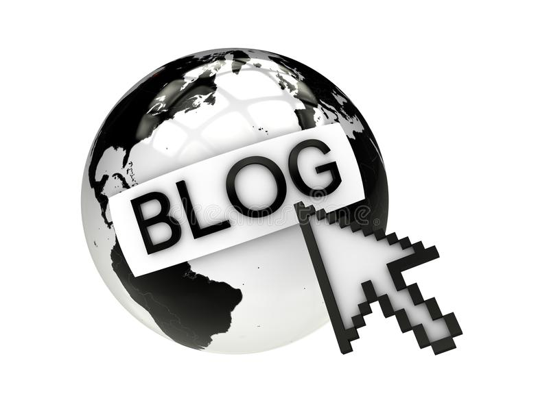 Blog with earth and computer mouse. Online blog concept. Computer render stock illustration