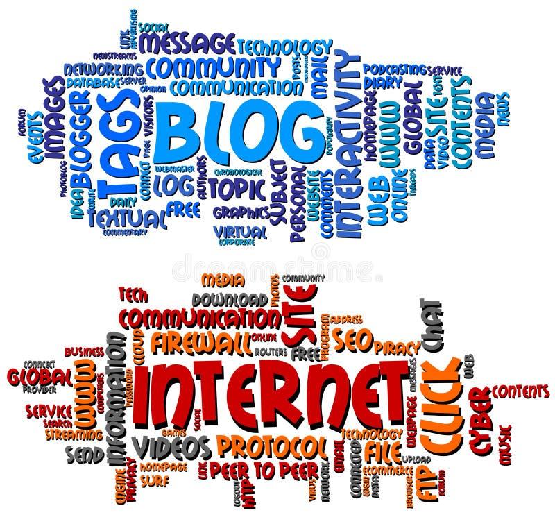 Blog en Internet-Word Wolken royalty-vrije illustratie