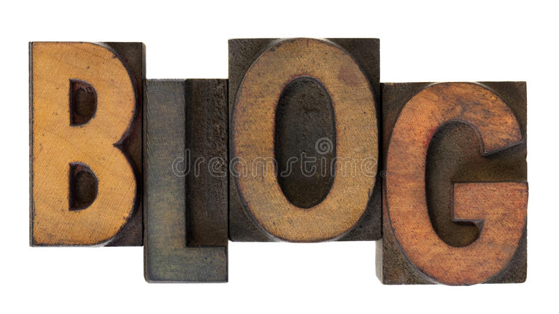 Blog en viejo tipo de madera de la prensa de copiar imagenes de archivo
