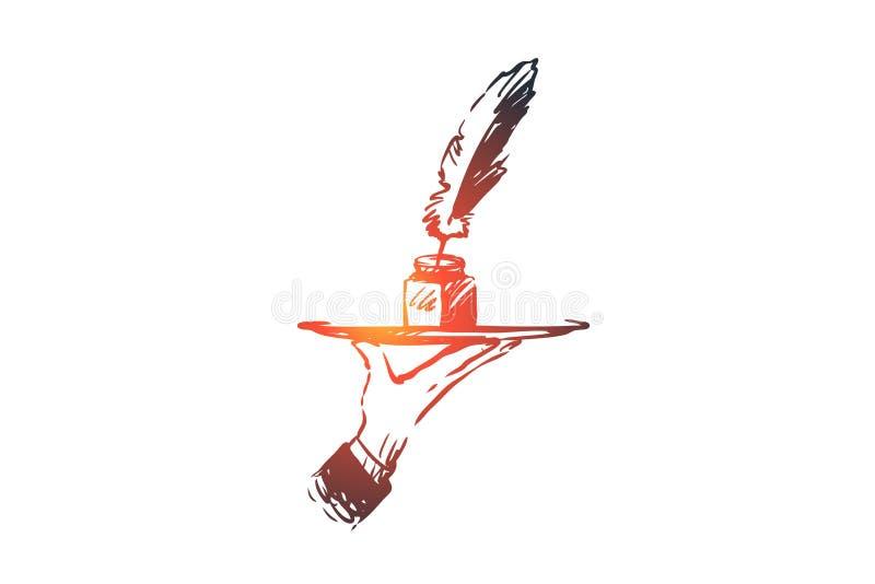 Blog, escritura, mensaje, sitio web, concepto de la comunicación Vector aislado dibujado mano ilustración del vector