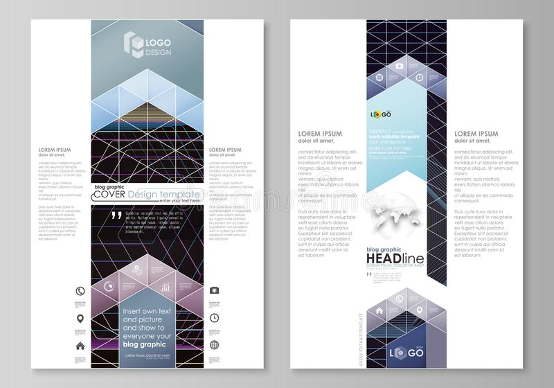 Blog graphic business templates. Page website template, vector layout. Abstract polygonal background with hexagons. Blog graphic business templates. Page website vector illustration