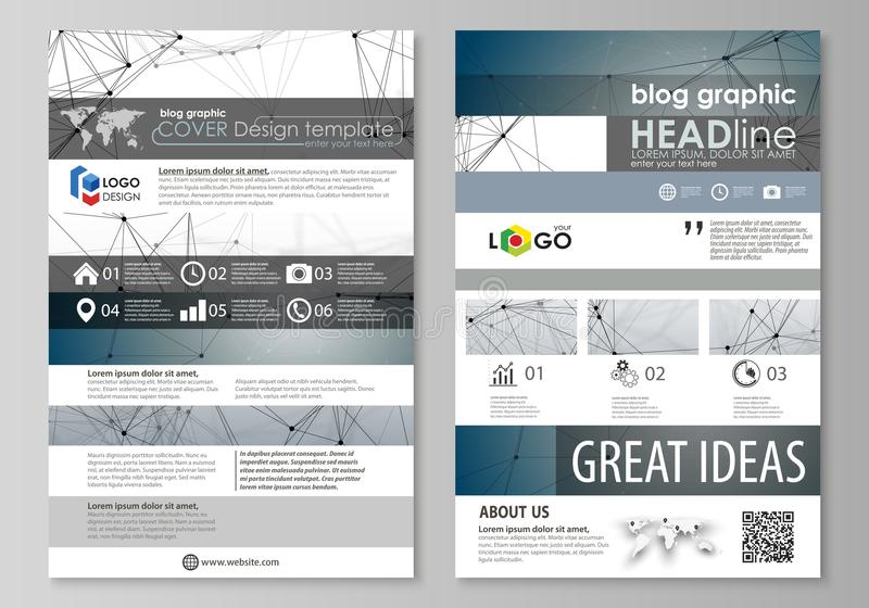 Blog graphic business templates. Page website design template, easy editable abstract vector layout. DNA and neurons. Molecule structure. Medicine, science royalty free illustration