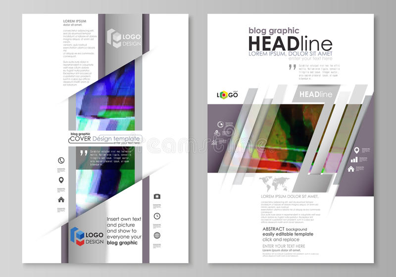 Blog graphic business templates. Page website design template, easy editable abstract vector layout. Glitched background stock illustration