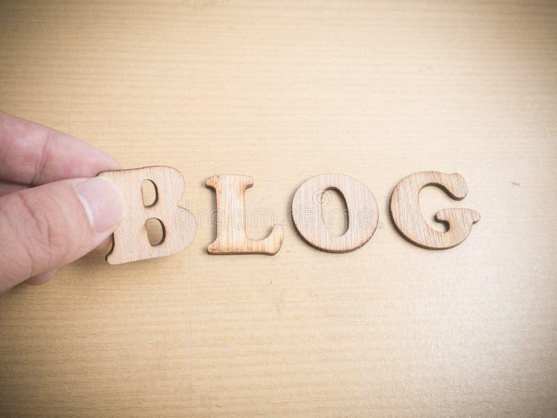 Blog, het Houten Concept van de Woordentypografie stock afbeeldingen