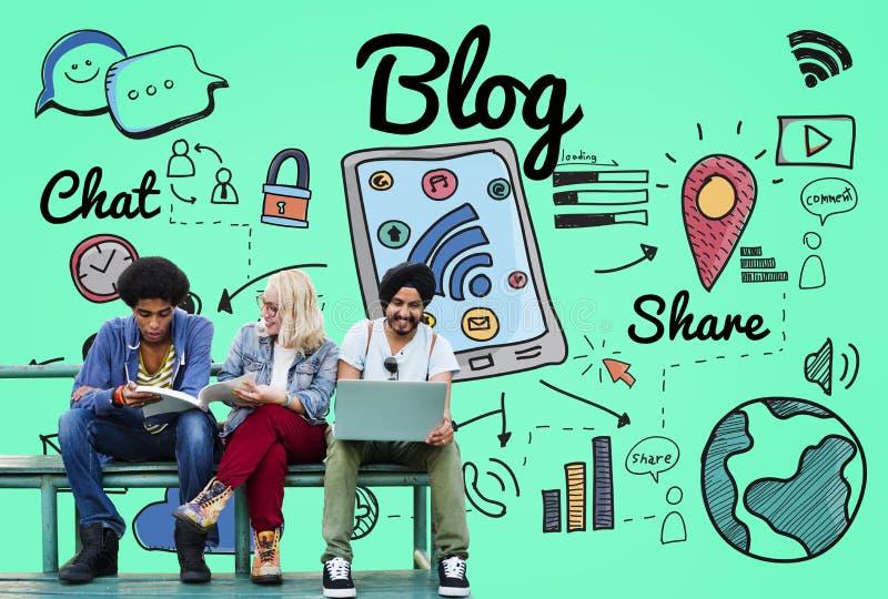 Blog Homepage Content Social Media Online Concept.  stock photos
