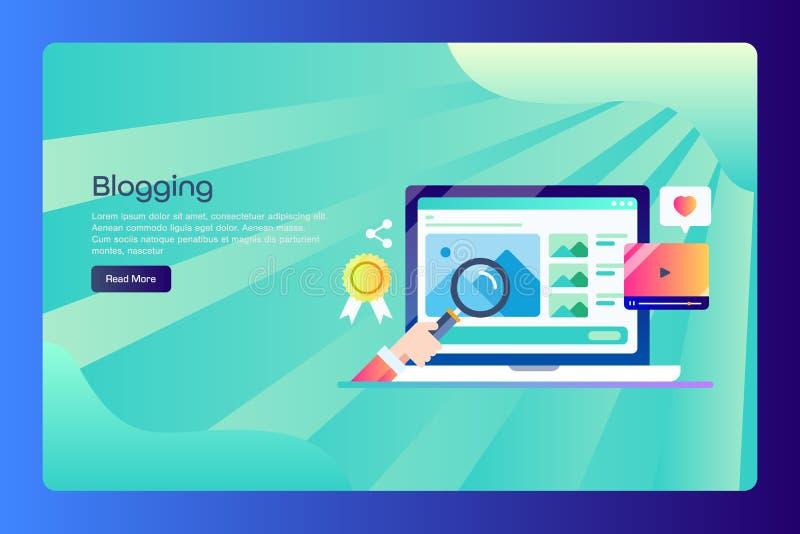 Blog, investigación contenta, escritura, publicación, poste del blog, medio social, contenido digital, concepto de la estrategia  libre illustration