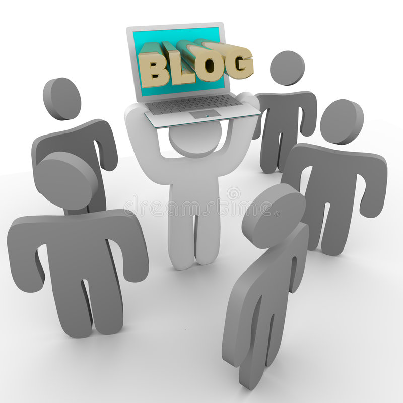 Blog Laptop - Holding Up to Crowd. A figure holds up his laptop to show his blog to a crowd royalty free illustration