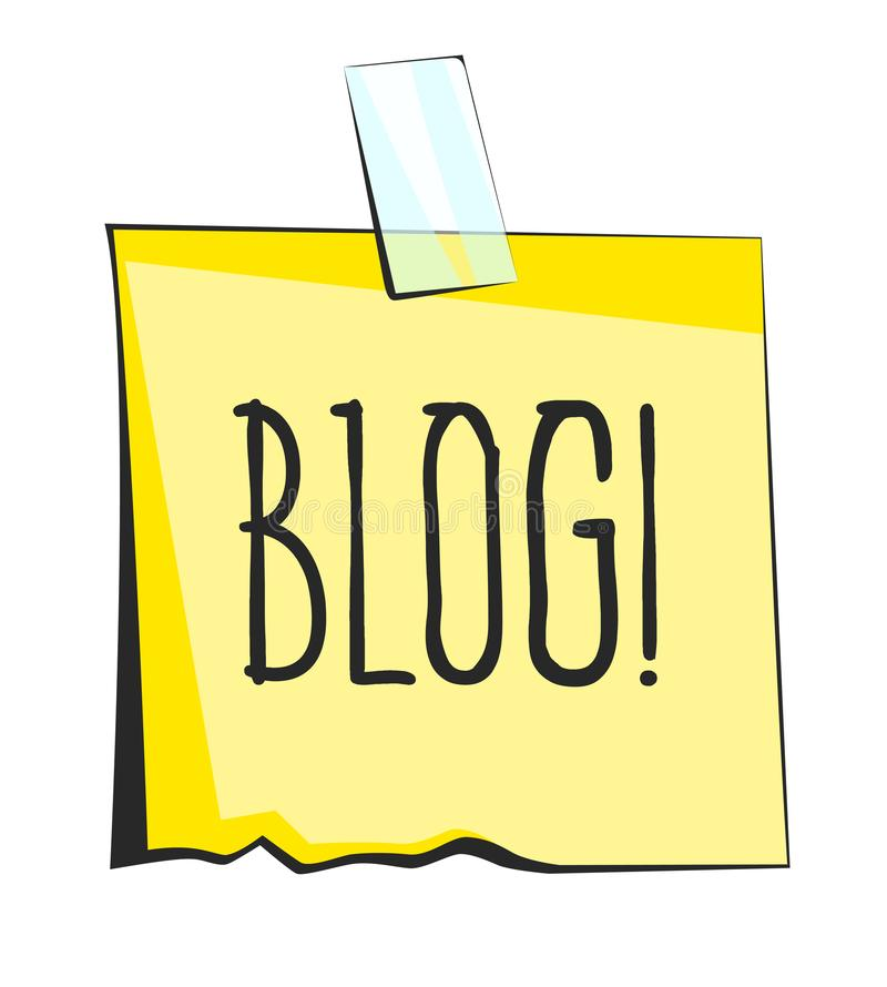 Blog lettering. Yellow sticky note with scotch tape. Paper reminder sticker stock illustration