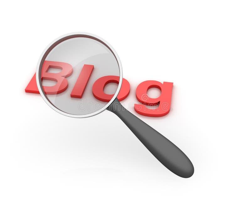 Blog Loupe. Three dimensional illustration of Loupe with Blog Word royalty free illustration