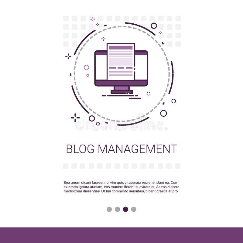 Blog-Management-Geschäfts-Digital-Inhalts-Informationstechnologie-Netz-Fahne mit Kopien-Raum lizenzfreie abbildung